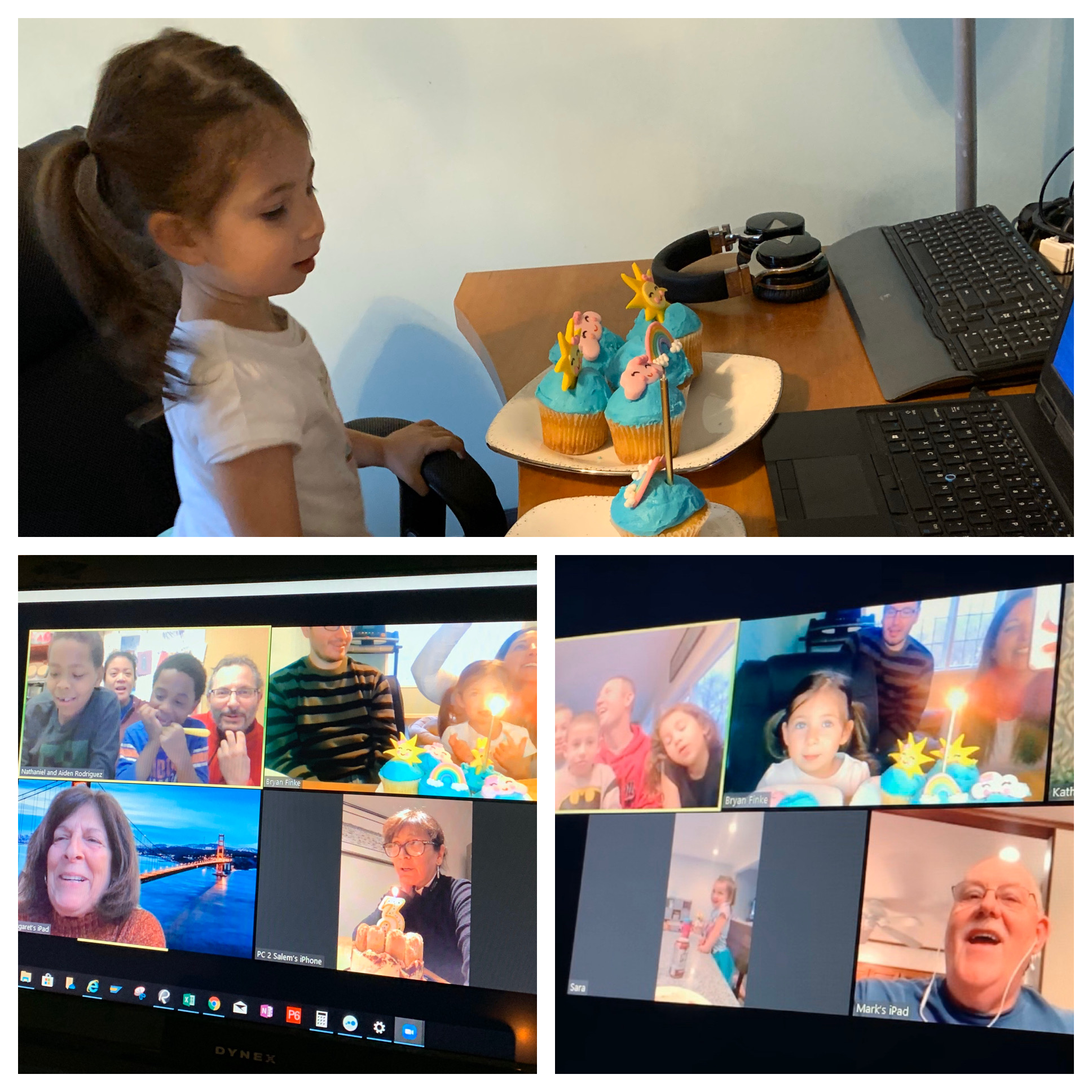 Top: Child looks at cupcakes; Bottom: computer screen with several people videoconferencing