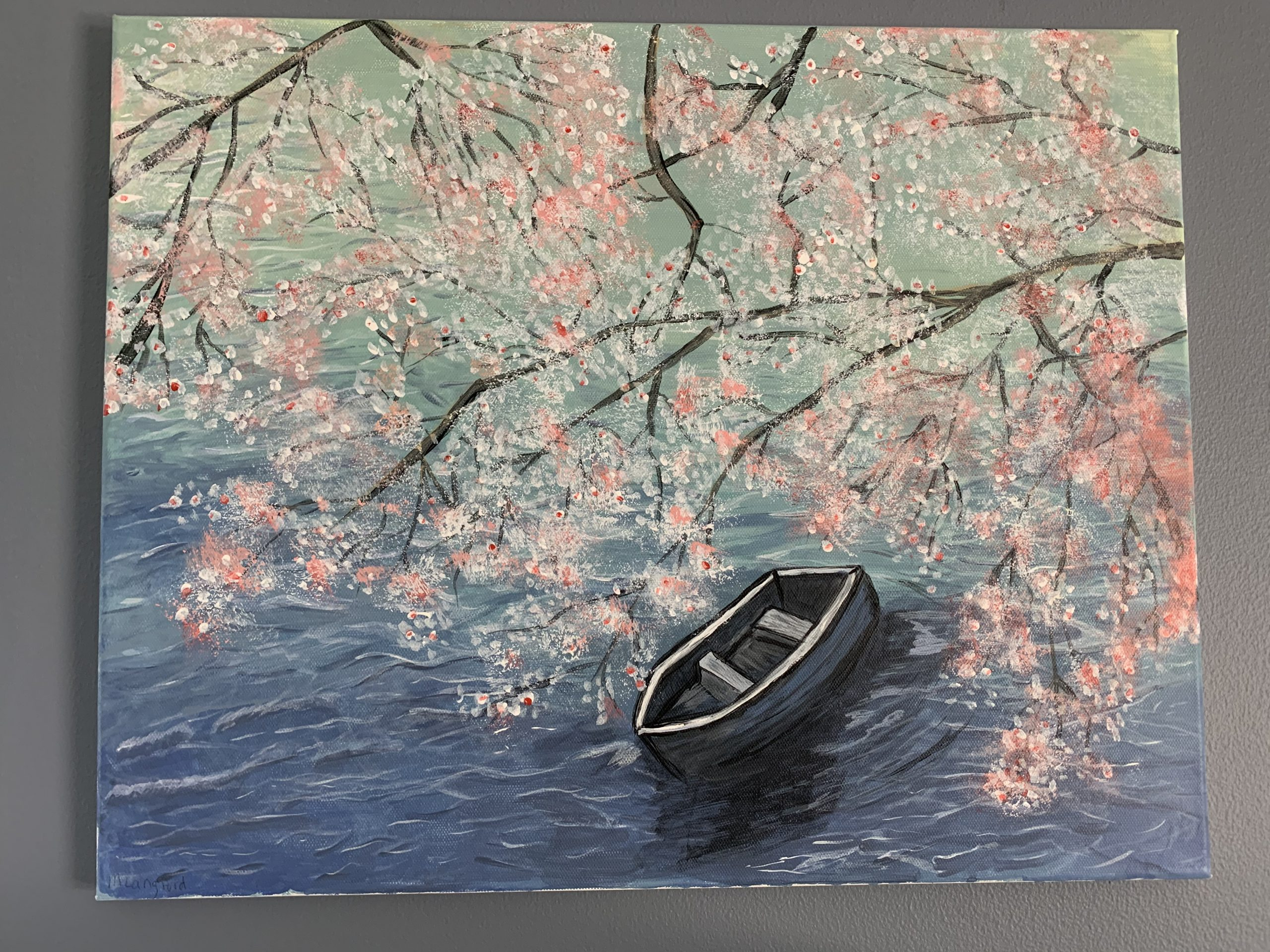 Painting with boat and cherry tree.